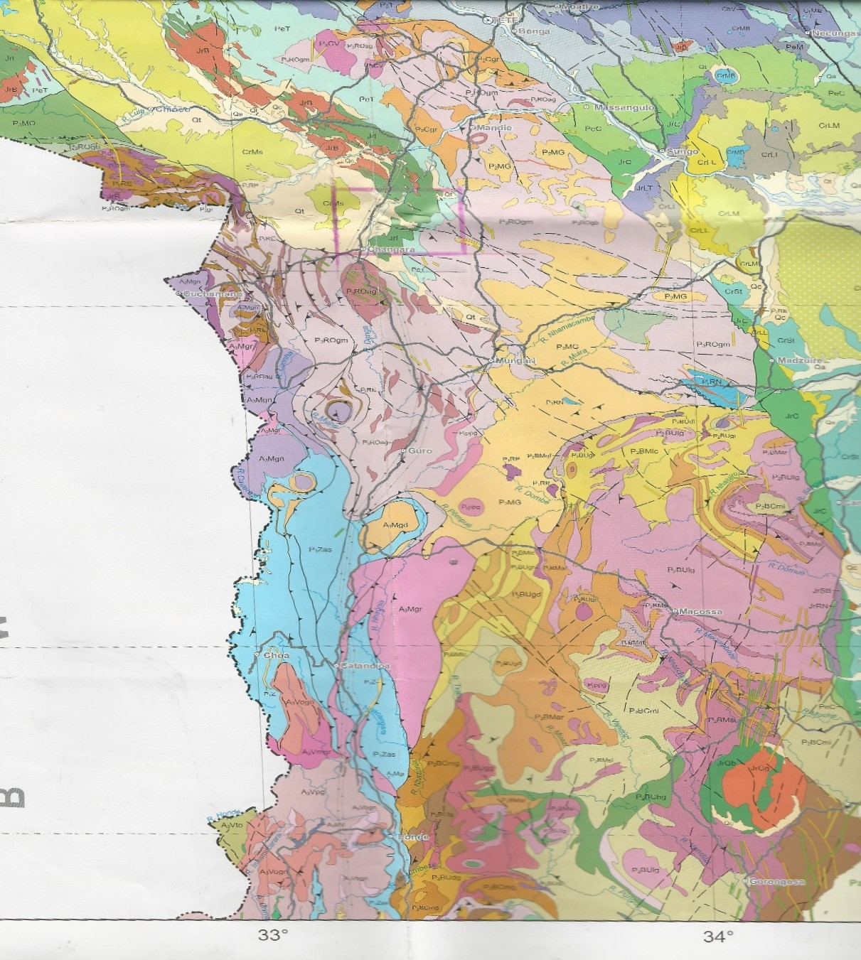 Fig.4 1,000,000 Geological map of the area which is approximately just south of the block in pink. The legend Pg2pmor on the map is indicating granitic and granitic gneisses.